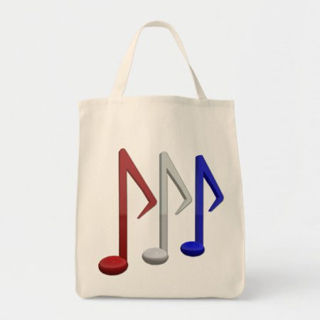 Red White And Blue Music Notes Tote Bag