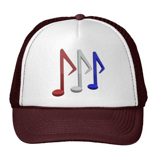Red White and Blue Music Notes Trucker Hat