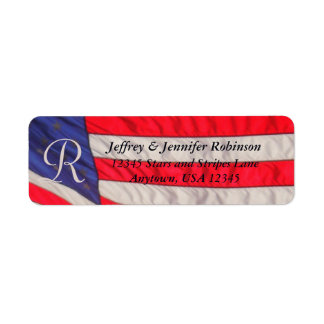 Red White and Blue Name and Address Label Monogram