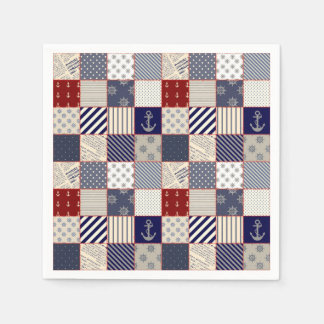 Red White and Blue Nautical Patchwork Pattern Standard Cocktail Napkin