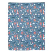 Red White and Blue Nautical Pattern Duvet Cover