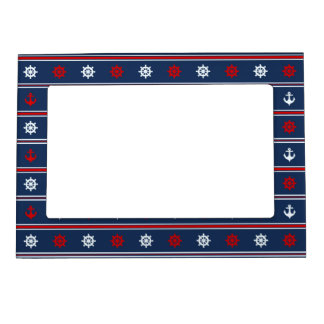 Red White And Blue Nautical Pattern Magnetic Picture Frame