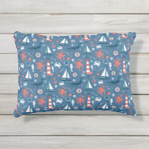 Red White and Blue Nautical Pattern Outdoor Pillow