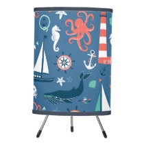 Red White and Blue Nautical Pattern Tripod Lamp