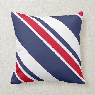 Red White and Blue Nautical Stripes Throw Pillow