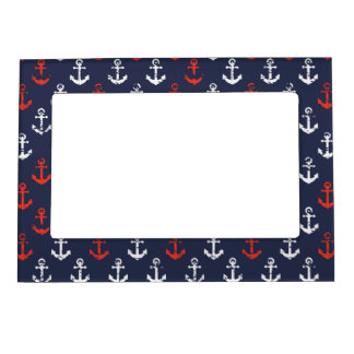 Red White And Blue Navy Pattern Magnetic Photo Frame