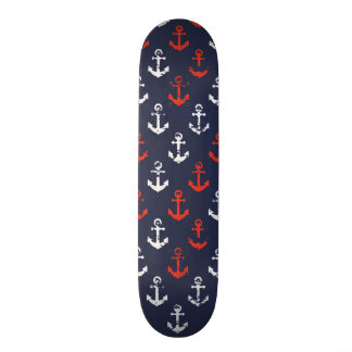 Red White And Blue Navy Pattern Skateboard Deck