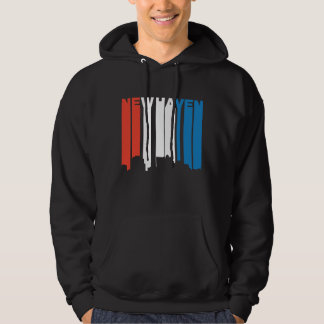 Red White And Blue New Haven Connecticut Skyline Hoodie