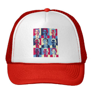 Red White and Blue Obama Pop Art Mesh Hats