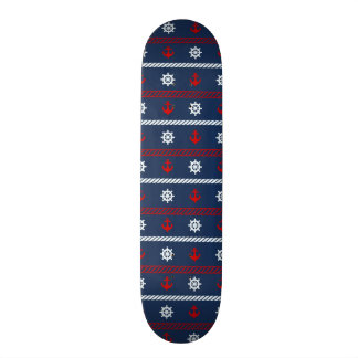 Red White And Blue Ocean Pattern Skateboard Deck