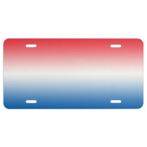 """""""Red White And Blue Ombre"""" License Plate"""