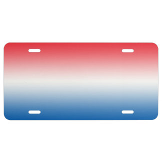 """Red White And Blue Ombre"" License Plate"