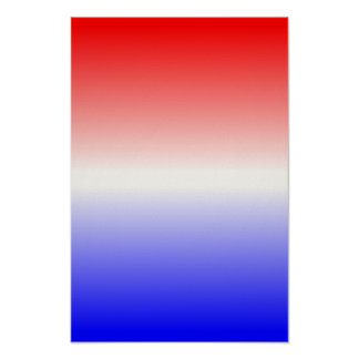 Red White and Blue Ombre Poster