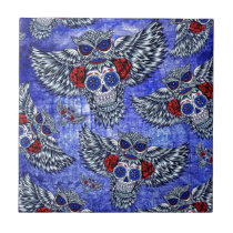 Red white and blue owl with sugar skull pattern ceramic tile