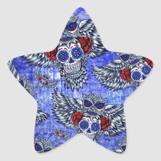 Red white and blue owl with sugar skull pattern star sticker