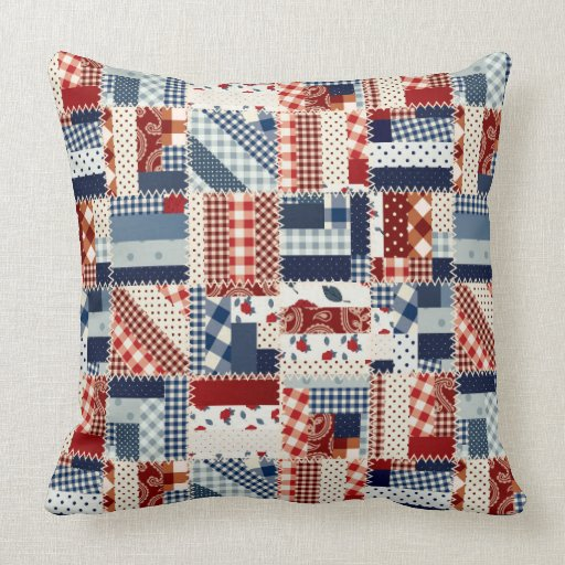 Throw Pillow Quilt Pattern : Red White and Blue Patchwork Quilt Pattern Throw Pillow Zazzle