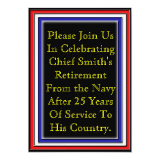 Red White and Blue patriotic 5x7 Paper Invitation Card