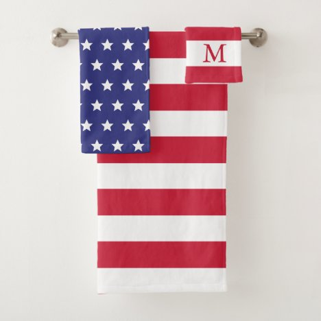 Red White and Blue Patriotic American Flag Bath Towel Set