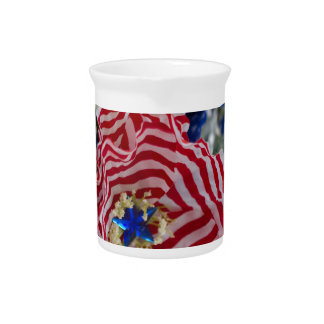 Red White and Blue Patriotic American Flag Bouquet Beverage Pitcher