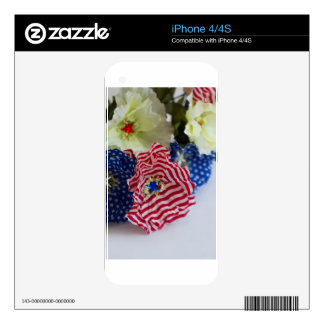 Red White and Blue Patriotic American Flag Bouquet Decal For iPhone 4