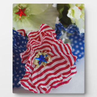 Red White and Blue Patriotic American Flag Bouquet Plaque