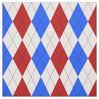 Red, White and Blue Patriotic Argyle Pattern Fabric
