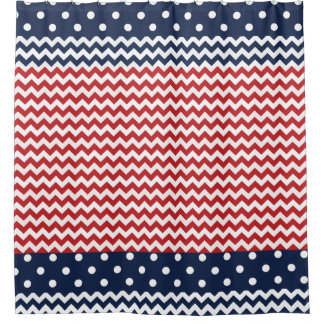 Red White And Blue Patriotic Chevron And Dots Shower Curtain