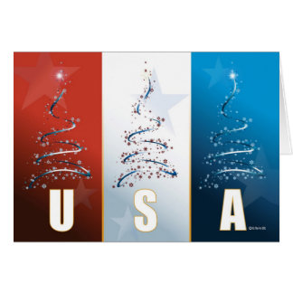 Red White and Blue Patriotic Christmas Card Card