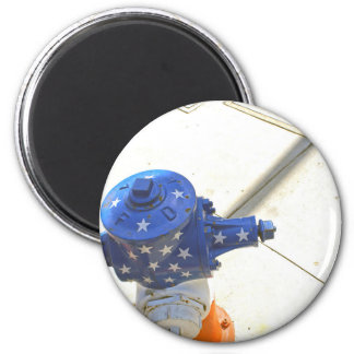 Red White and Blue Patriotic Fire Hydrant  America 2 Inch Round Magnet