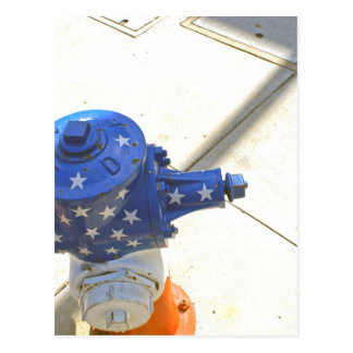 Red White and Blue Patriotic Fire Hydrant  America Postcard