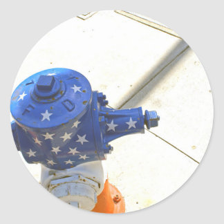 Red White and Blue Patriotic Fire Hydrant  America Classic Round Sticker