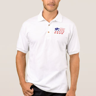 red white and blue PATRIOTIC FISH flag Polo Shirt