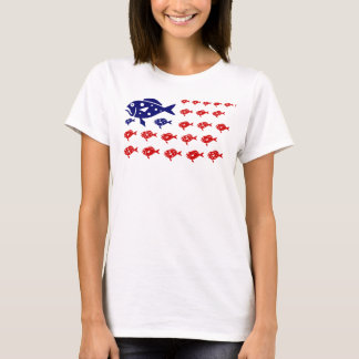 red white and blue PATRIOTIC FISH T-Shirt