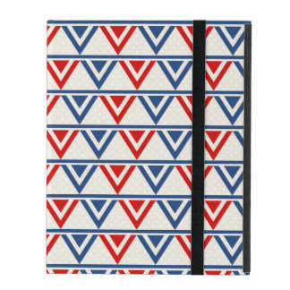 Red, White and Blue Patriotic Geometric Abstract iPad Folio Case