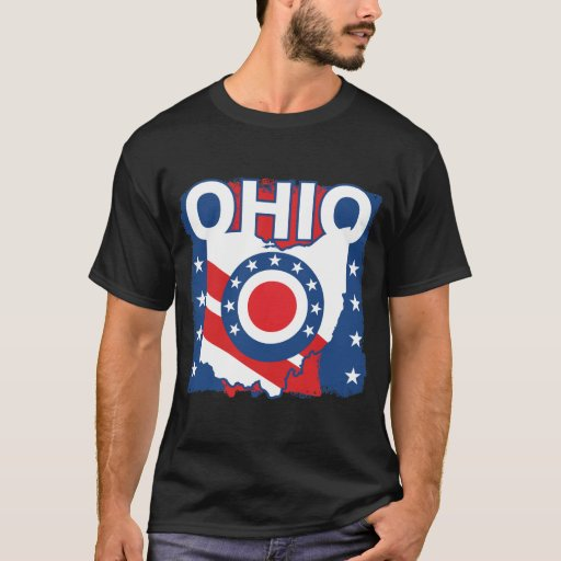 Red White and Blue Patriotic Grunge Ohio T-Shirt