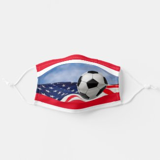 Red White and Blue Patriotic Soccer Ball Cloth Face Mask
