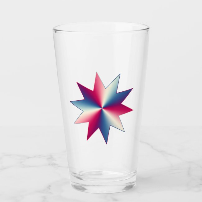 Red White and Blue Patriotic Star Glass Tumbler