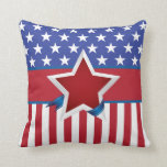 Red White and Blue Patriotic Star Pattern Pillow