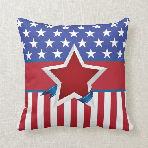 Red white and blue patriotic star pattern pillow zazzle for Red and blue pillows
