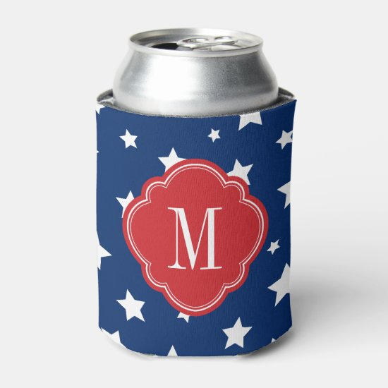Red White and Blue Patriotic Stars Monogram Can Cooler