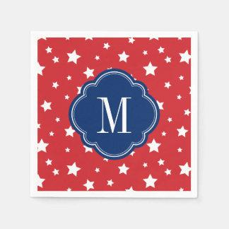 Red White and Blue Patriotic Stars Monogram Paper Napkin