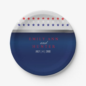 Red, White and Blue Patriotic Stars Paper Plate