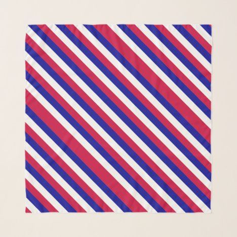 Red White and Blue Patriotic Stripes Pattern Scarf