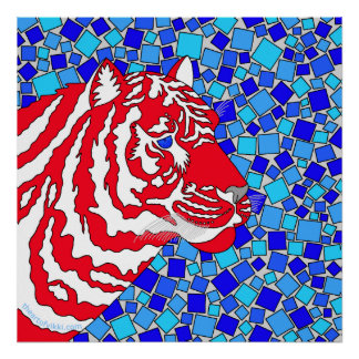 """Red White And Blue Patriotic Tiger 24"""" x 24"""" Print"""