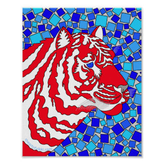 """Red White And Blue Patriotic Tiger 8"""" x 10"""" Print"""