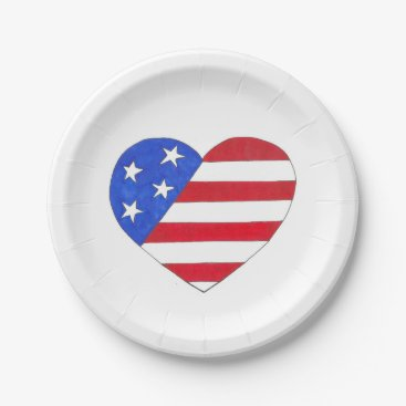 USA Themed Red White and Blue Patriotic USA Flag Heart Plates