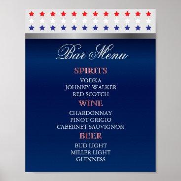 Red, White and Blue Patriotic Wedding - Bar Menu Poster