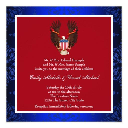 Red, White And Blue Patriotic Wedding Invitation