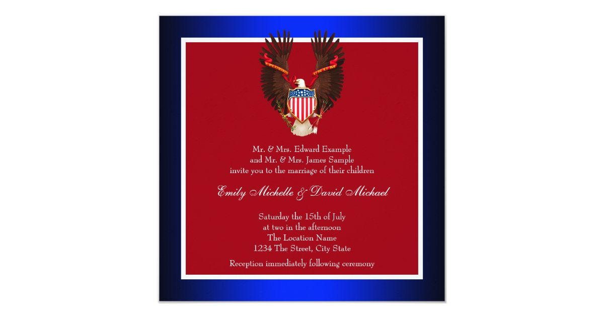 Red White And Blue Wedding Invitations: Red, White And Blue Patriotic Wedding Invitations