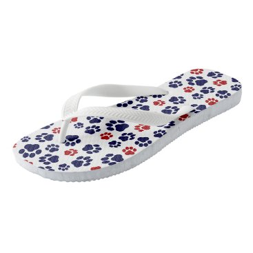 Beach Themed Red, White, and Blue Paw Print-Pattern Flip-Flops Flip Flops
